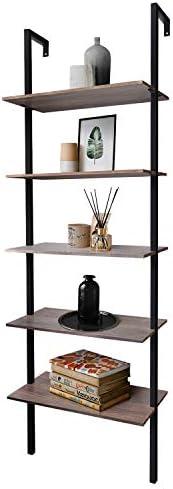 Zenvida 5-Shelf Modern Bookcase Wall Mount 72″ Ladder Bookshelf Industrial Metal Frame Open Shelves