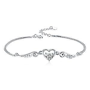 Zeni Love Heart 925 Sterling Silver Angel Wings Bracelet for Ladies Women