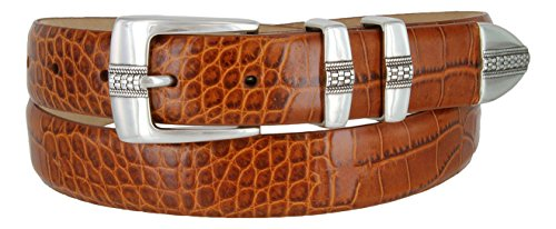 Brandon Italian Calfskin Leather Designer Dress Golf Belt for Men (38, Alligator (Alligator Skin Belt)