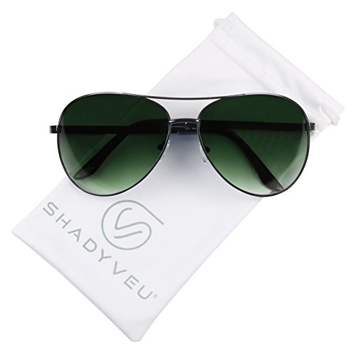 ShadyVEU - Classic Extra Large Wide Frame Metal Aviator Casual Oversize Sunglasses (Gunmetal Frame / Green Lens, 155)