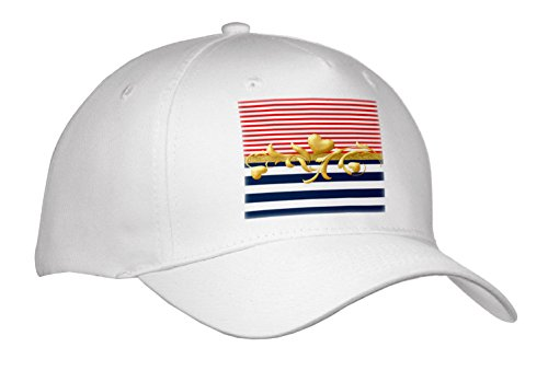 3dRose Anne Marie Baugh - Patterns - Cute Red, White, Blue Stripes with A Gold Flourish Heart Center - Caps - Adult Baseball Cap (Cap_274078_1) - Transfers Flourish