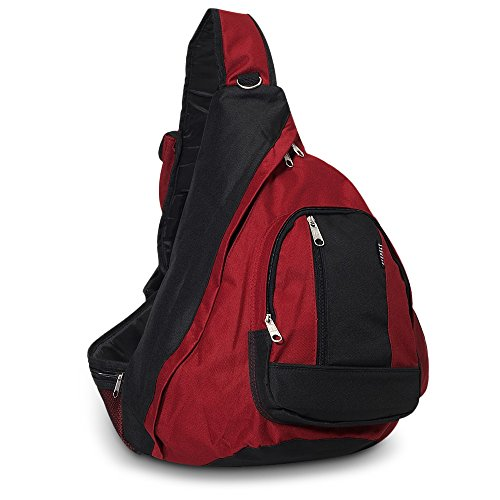 Everest Shoulder Sling Backpack Messenger Bag Maroon Burgundy