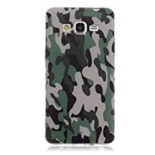 Grand Prime Case, G530 Case, Candyhouse Samsung Galaxy Grand Prime G5308 G530W Case Coque Green Camouflage Cool Design Flexible Wavy Edge Soft TPU Case Rear Back Cover