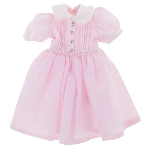 CUTICATE 1/6 Doll Clothing Short Sleeve Dress with Button, for 12inch Takara Blythe Complete Look Dress Up