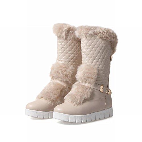 Johannesbroeken Vrouwen Faux Bont Gesp Mode Comfort Warme Sneeuw Laarzen Abrikoos