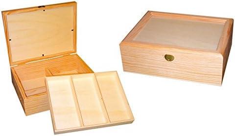Caja joyero madera. Con tapa de cristal, interior con divisiones ...