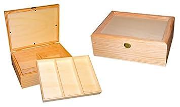 Caja joyero madera. Con tapa de cristal , interior con divisiones ideal para joyero. Madera en crudo, para decorar.: Amazon.es: Hogar