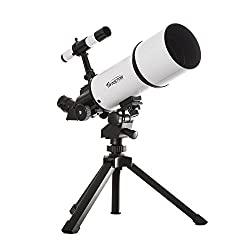 White Twinstar Astromark 80mm 16-40x Power Portable Refractor Telescope