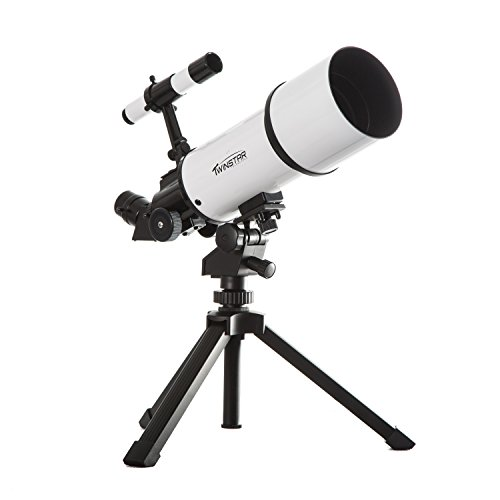 White TwinStar AstroMark 80mm 16-40x Power Portable Refractor Telescope TwinStar