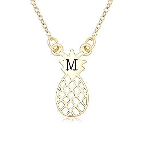 NOUMANDA Shiny Zircon 26 Alphabet English Letters Golden Pineapple Initial Disc Charms Necklace (M)