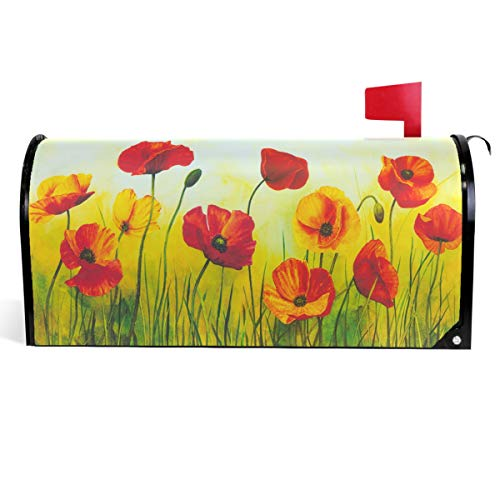Wamika Art Red Poppy Flowers Mailbox Cover Spring Lawn Painting Mailbox Covers Magnetic Mailbox Wraps Post Letter Box Cover Standard Size 18