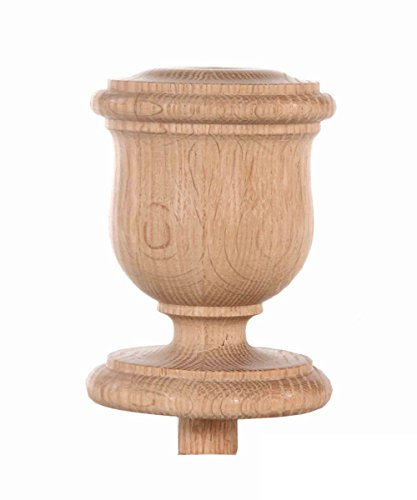 Staircase Finial Newel Post Cap FN-0104, Red Oak Wood