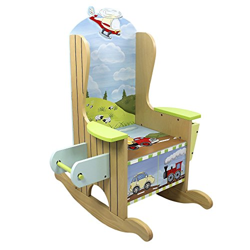 Teamson Cabinet (Fantasy Fields - Transportation Thematic Wooden Potty Chair with Book Holder and Toilet Paper Holder | Hand Crafted & Hand Painted Details   Non-Toxic, Lead Free Water-based Paint)