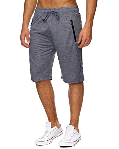 Voncheer Mens Casual Summer Elastic Waist Drawstring Shorts with Zipper Pockets (XL, Dark Grey Mens ()