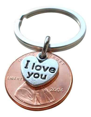 I Love You Heart Charm Layered Over 2004 Penny Keychain, 15 year Anniversary Gift, Birthday Gift, Couples Keychain