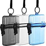 Waterproof ID Card Badge Holder Floating Sports Case Locker 3 Pieces (3 Colors) with Hanging Ring and Rope Transparent, Blue and Grey 12 x 7.5 x 3cm