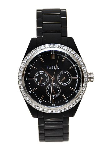 Fossil-BQ1192-Chronograph-Black-Plastic-Band-Crystals-Watch