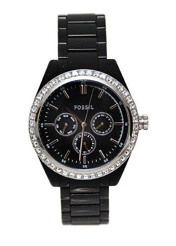 Fossil-BQ1192-Chronograph-Black-Plastic-Band-Crystals-Watch