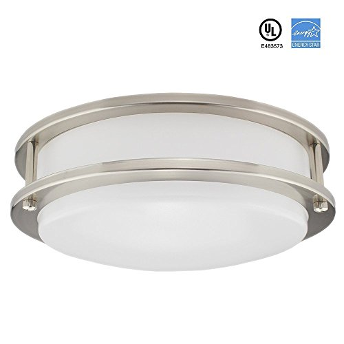 LED Flush Mount Ceiling Light—12-Inch 20W 3000K 1350lumens Flush Mount,UL and ENERGY STAR Listed,Antique Brushed Nickel,Dimmable (Fixtures Bathroom Hinkley Lighting)