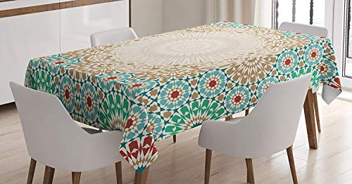 (Moroccan Tablecloth,Ottoman Mosaic Art Pattern with Oriental Floral Forms Antique Scroll Ceramic Boho Print,Waterproof Oil Proof Stain Resistant Table Cover,61W X 100L Inch Cream Turquoise)