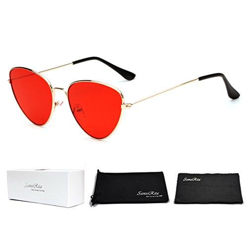 SamuRita Thin Frame Butterfly Tinted Cat Eye Sunglasses New Designer Shades(Red Lens/Gold - Sunglasses Vampire