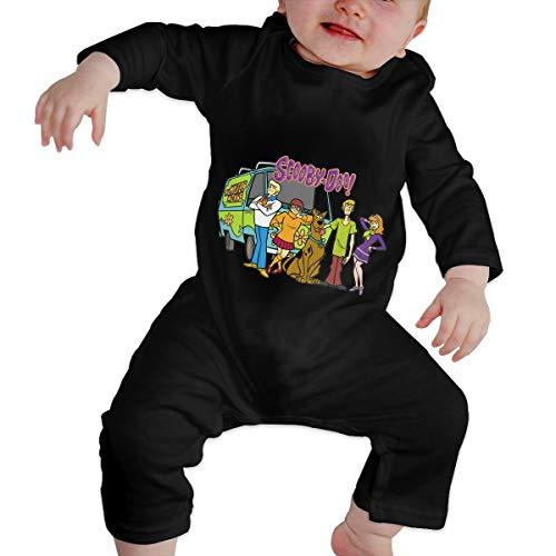 Scooby-Doo Family Unisex Baby Boy Girl Organic Cotton Romper Bodysuits Long-Sleeve Coveralls Black -