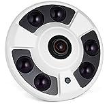 Revotech - IF02 FHD 1920 x 1080P 2.0MP Panoramic Fisheye 6 Array LED IR IP Camera Night Vision Security ONVIF P2P IP CCTV Cam System with IR-Cut (White)
