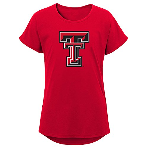 Raiders Youth Girls Primary Logo Dolman Tee, Youth Girls Medium(10-12), Red ()
