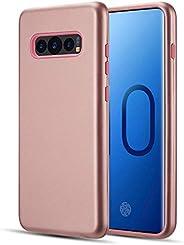 Luxmo Funda Case para Samsung S10 Doble Protector de Uso Rudo DMX, Color Negro/Rojo