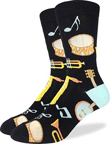 (Good Luck Sock Men's Musical Instruments Socks - Black, Adult Shoe Size 7-12 )