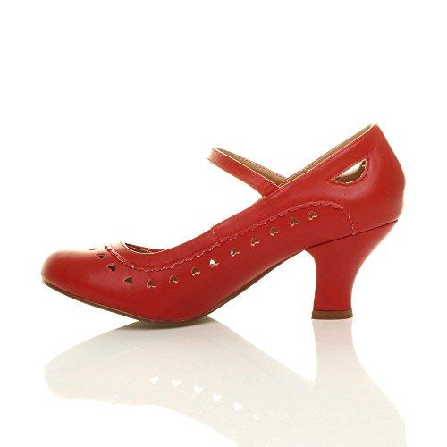Damen Herzmuster Mary Jane Mittlerer Absatz Feinmachen Pumps Schuhe Größe 41 8 9Zl0InrA