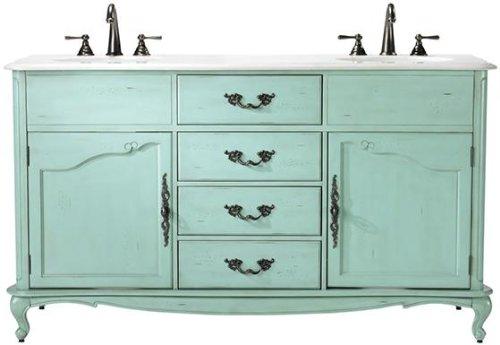 Provence Double Sink Bath Vanity, 35Hx62Wx22D, BLUE (Bath Vanity Provence)