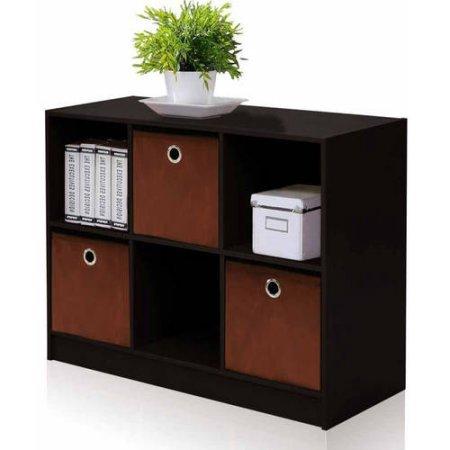 Furinno 99940 Basic 3X2 Bookcase Storage with 3-Collapsible Bins - Espresso/Brown (Toddler Bookcase Espresso compare prices)