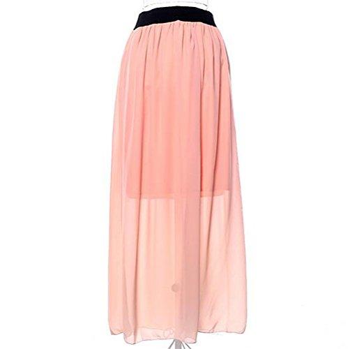 YouPue Mesdames Casual Jupe Longue Taille Haute Jupe Plisse Bohmienne Jupe vase Taille Unique Rose