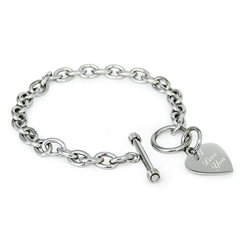 Toggle Inspired Bracelet (Stainless Steel Engraved I Love You Heart Tag Charm Bracelet)