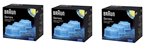 Braun Clean and Renew Cartridge, Refill, Replacement Cleaner, Cleaning Solution CCR (9 Pack) Replacement Cleaning Solution