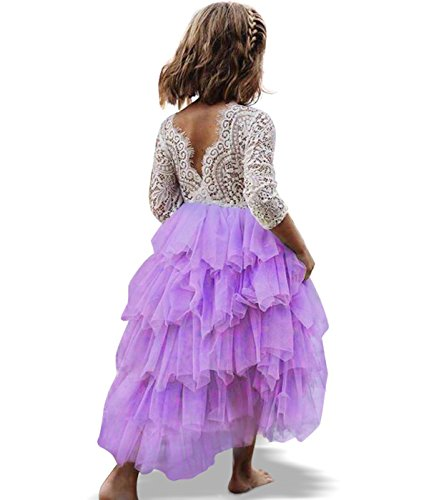 NNJXD Girl Lace Back Tutu Tulle Flower Girls Princess Party Dress Size (120) 5-6 Years Purple