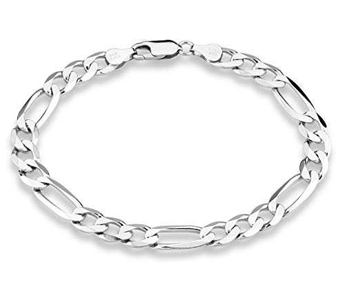 MiaBella 925 Sterling Silver Italian 7mm Solid Diamond-Cut Figaro Link Chain Bracelet for Men, 7.5
