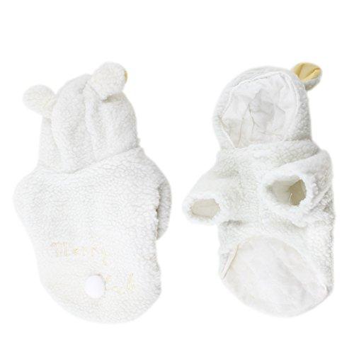 [uxcell Pet Sheep Design Warm Press Stud Button Dog Poodle Coat Costume White L] (Letter L Costumes)