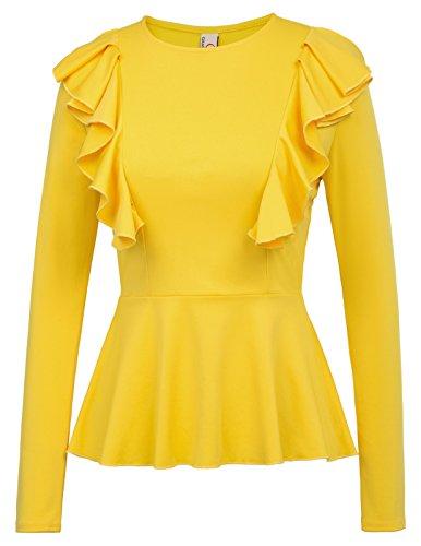 Yellow Ruffle Shirt Top - 3