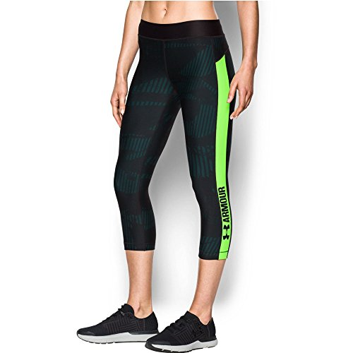 Lime Green Capri Pants (Under Armour Women's HeatGear Armour Printed Graphic Capris, Arden Green/Quirky Lime, Medium)