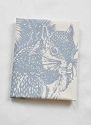 Tea Towel - Organic Cotton - Squirrel Design in Grey - Natural Flour Sack