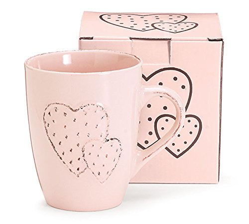 Burton & Burton 9730224 Pink Embossed Mug with Double Heart Childrens Party Supplies