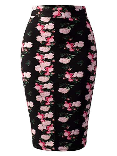 MixMatchy Women's Stretch Office Knee Length Midi Bodycon Flower Print Pencil Skirt Flower Print J1005 S