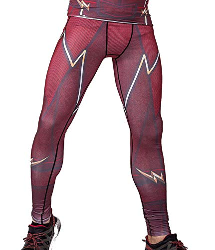 Red Plume Men's Compression Elastic Tight Leggings Sport Lightning Printing Pants (XL, Red) ()