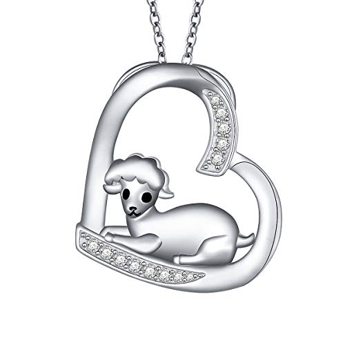 - S925 Sterling Silver Cute Lamb Sheep In The Love Heart Pendant Necklace (Lamb Necklace)