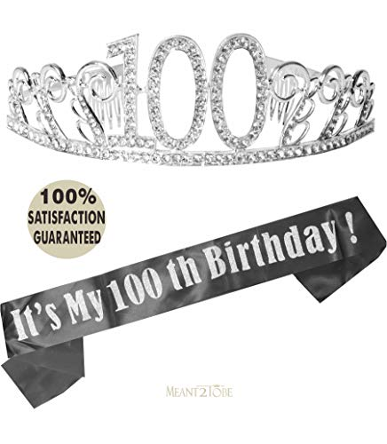 100th Birthday Tiara and Sash, Happy 100th Birthday Party Supplies, 100 It's My 100th Birthday Black Glitter Satin Sash and Crystal Tiara Birthday Crown]()