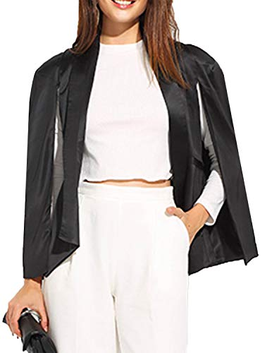 - ASMAX HaoDuoYi Womens Cape Sim Fit Split Bussiness Blazer Jacket Bright Black