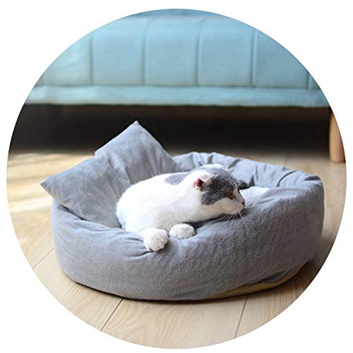 (Colorful-World Cat Soft Nest Pets Houses and Pet Bed Sleeping Kitten Mats Gray Pet Sleeping Bag Breathable Warmth Winter Pet Bed with Pillow,Grey,S-with Pillow)