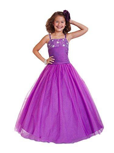 GreenBloom Girls' Spaghetti Crystal Corset Toddler Pleated Midriff Pageant Ball Gown Purple 16